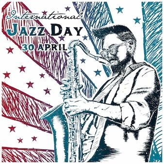 Día internacional del jazz dibujado a mano.