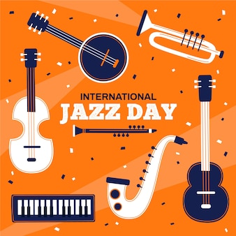Día internacional del jazz en diseño plano
