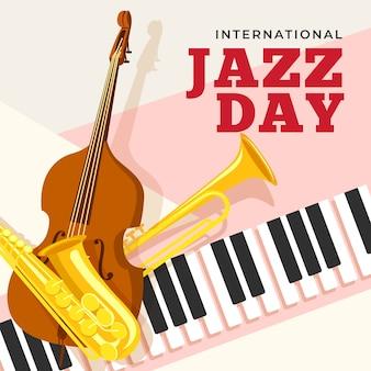 Día internacional del jazz con instrumentos musicales.