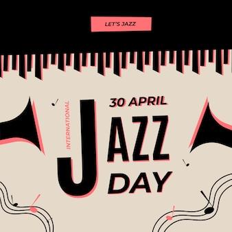 Día internacional del jazz con piano y trompetas.