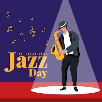 Día internacional del jazz saxofonista ilustrado