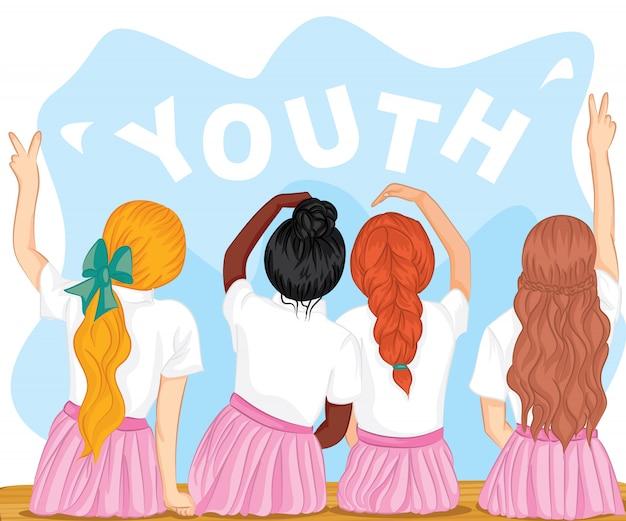 Día internacional de la juventud. 12 de agosto. campaña de cuatro adolescentes apasionadas ilustración