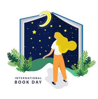 Día internacional del libro con gran libro nocturno.