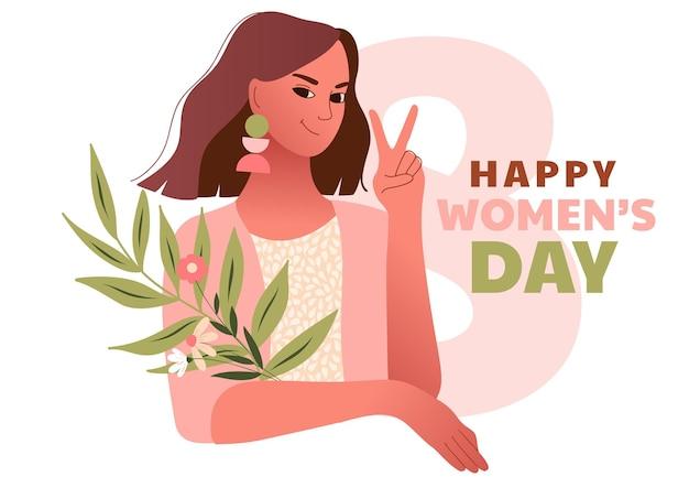 Dia internacional de la mujer. 8 de marzo. feliz mujer sexy haciendo gesto de victoria. plantilla con mujeres hermosas