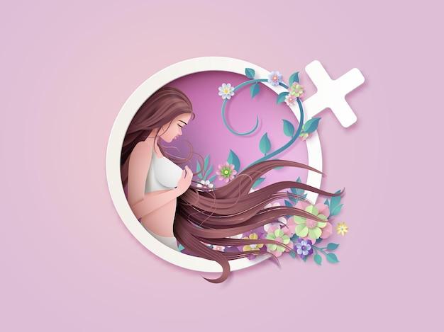 Día internacional de la mujer 8 de marzo con marco de flores y hojas, estilo de arte en papel.