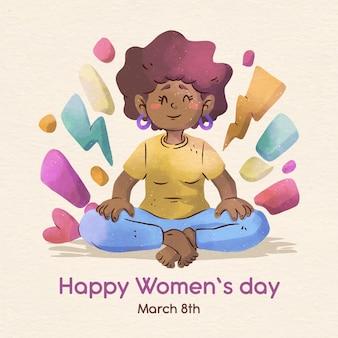 Día internacional de la mujer en acuarela con fecha.