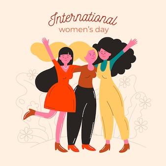 Día internacional de la mujer amigas felices
