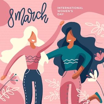 Día internacional de la mujer. chicas juntas dos damas sin rostro abrazándose.
