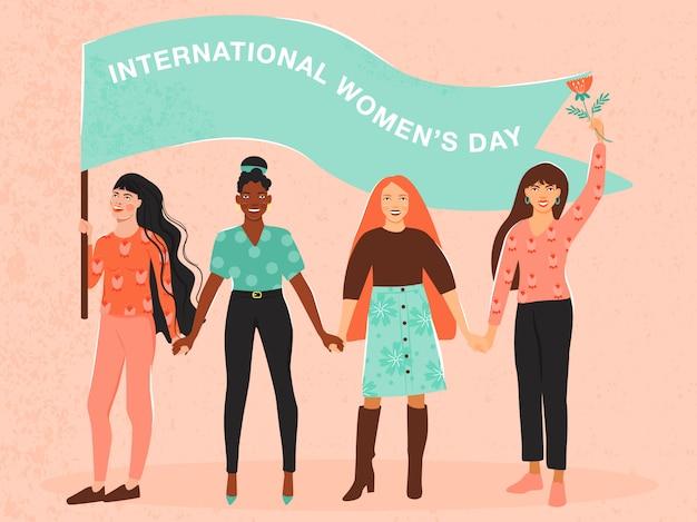 Día internacional de la mujer . las chicas se toman de la mano.