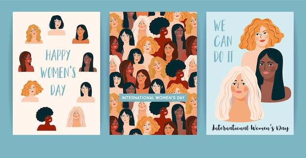 Día internacional de la mujer. conjunto de plantillas con mujeres de diferentes nacionalidades y culturas. lucha por la libertad, la independencia, la igualdad.