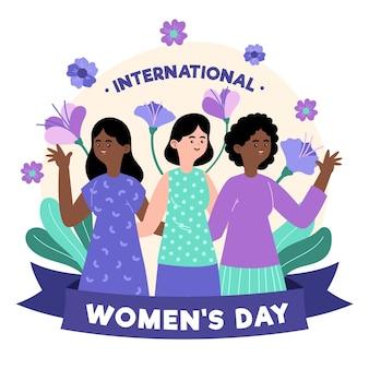 Día internacional de la mujer dibujado a mano con mujeres y flores.