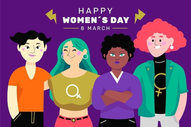 Día internacional de la mujer dibujado a mano