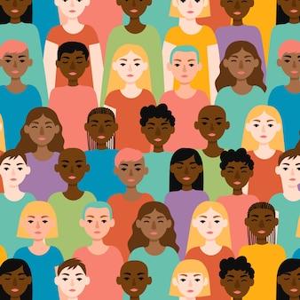 Día internacional de la mujer con estampado de rostros