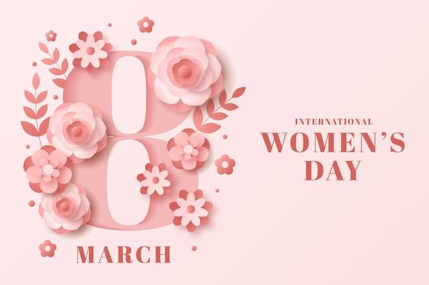 Día internacional de la mujer en estilo papel con fecha.