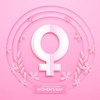 Día internacional de la mujer en estilo papel.