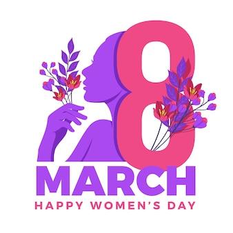 Día internacional de la mujer con flores y fecha.