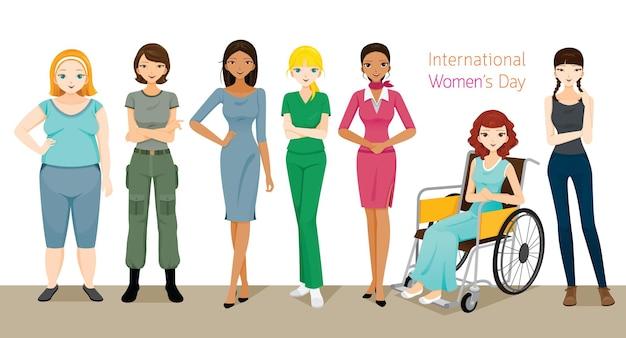 Día internacional de la mujer, grupo de mujeres con diversas naciones, piel y ocupaciones