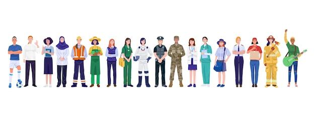 Día internacional de la mujer. grupo de mujeres con ocupaciones diversas.