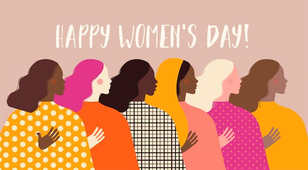 Día internacional de la mujer. ilustración con mujeres de diferentes nacionalidades y culturas.