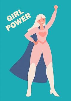Día internacional de la mujer. ilustración de una niña en un traje de superhéroe. la lucha por la libertad, la independencia, la igualdad.