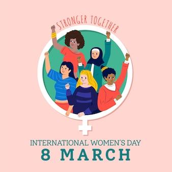Día internacional de la mujer más fuerte juntos