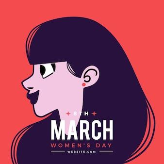 Día internacional de la mujer con mujer en vista de perfil.