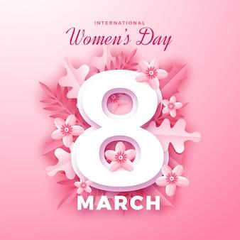 Día internacional de la mujer en papel.