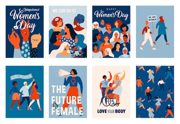 Día internacional de la mujer. plantillas para tarjetas, carteles, folletos y otros usuarios.