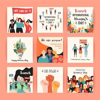 Día internacional de la mujer. plantillas de tarjetas con mujeres de diferentes nacionalidades y culturas.