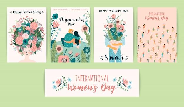 Día internacional de la mujer. plantillas de vectores con mujeres lindas