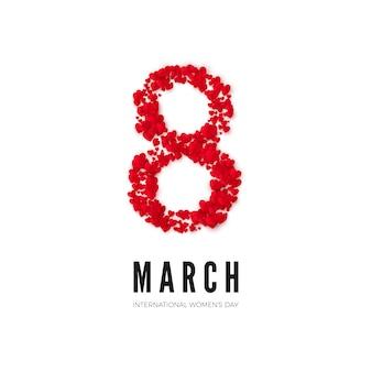 Dia internacional de la mujer. postal de saludo. el ocho está hecho de corazones. concepto de banner de sitio web. ilustración