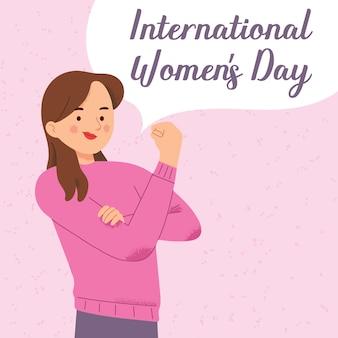 Día internacional de la mujer puño poder feminismo femenino contra la discriminación