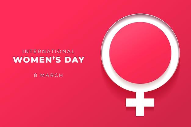 Día internacional de la mujer realista en estilo papel.