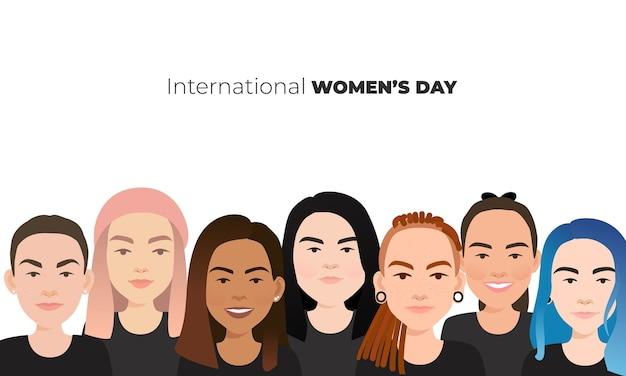 Día internacional de la mujer. rostros femeninos diversos de diferentes etnias.