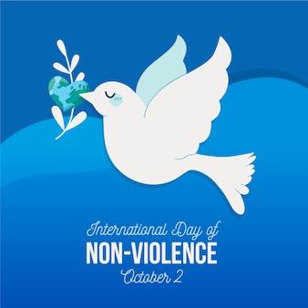 Día internacional de la no violencia dibujado a mano.