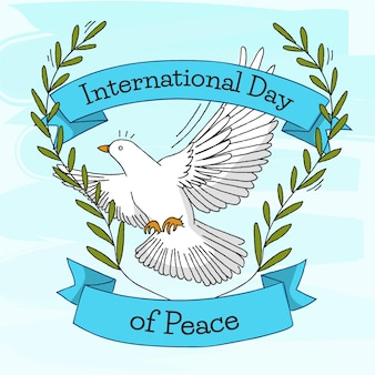 Día internacional de la paz dibujado a mano concepto