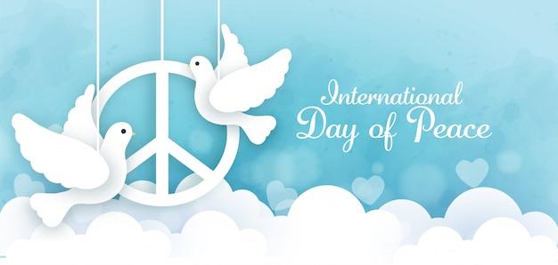 Día internacional de la paz en estilo de corte de papel.