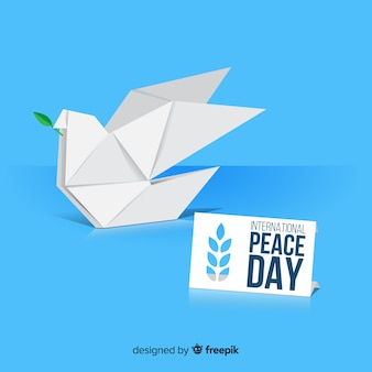 Día internacional de la paz con paloma origami