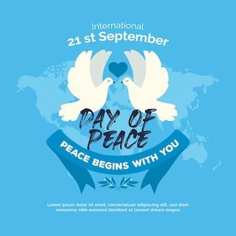 Día internacional de la paz con palomas y mapa mundial