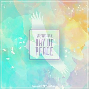 Día internacional de la paz sobre acuarelas