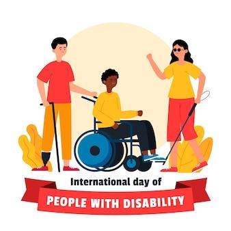Día internacional de las personas con discapacidad dibujado evento ilustrado