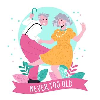 Día internacional de las personas mayores dibujado a mano.