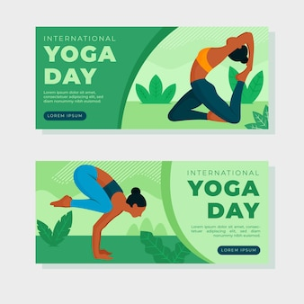 Día internacional plano de banner de yoga