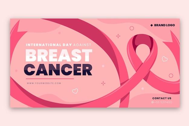 Día internacional plano dibujado a mano contra el cáncer de mama plantilla de publicación en redes sociales
