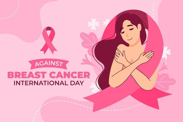 Día internacional plano dibujado a mano contra el fondo del cáncer de mama
