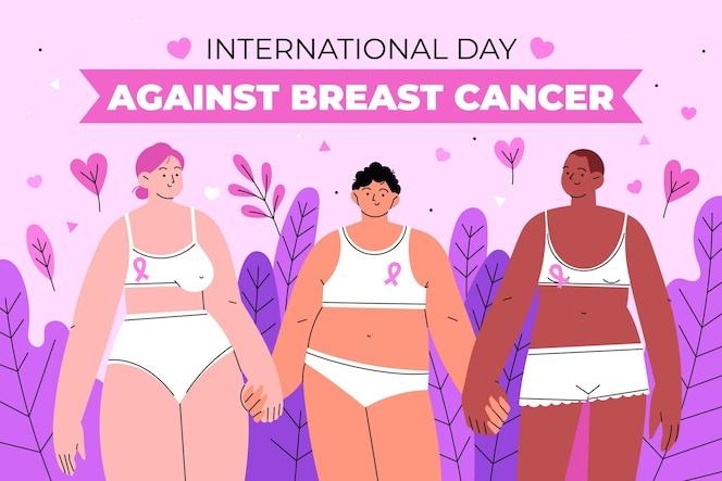 Día internacional plano dibujado a mano contra la ilustración del cáncer de mama