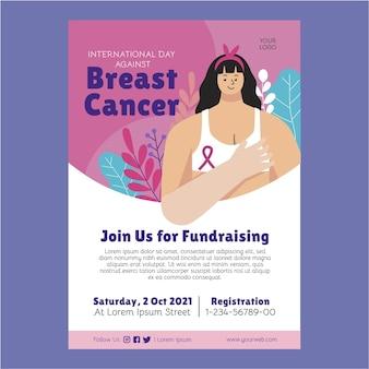 Día internacional plano dibujado a mano contra la plantilla de cartel vertical del cáncer de mama