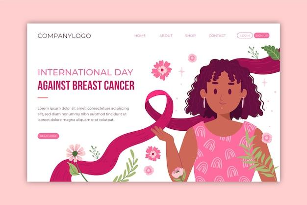 Día internacional plano dibujado a mano contra la plantilla de página de destino del cáncer de mama