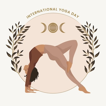 Día internacional plano orgánico de la ilustración del yoga.