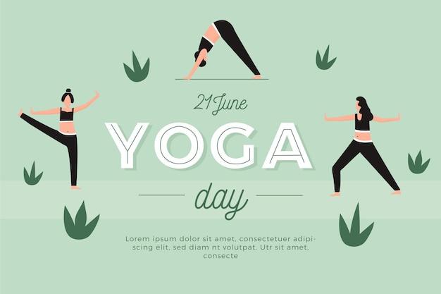 Día internacional plano de yoga y hojas